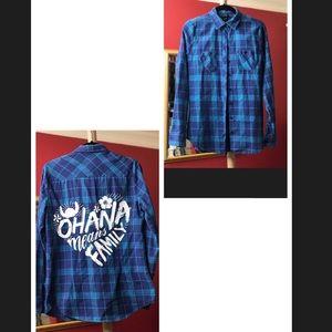 Disney Blue Plaid Button Down Shirt, size Small